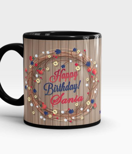 Wooden theme Name Birthday Mug
