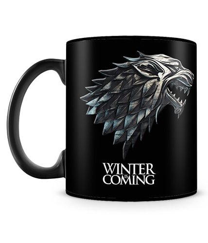 Winter Is Coming Black Mug