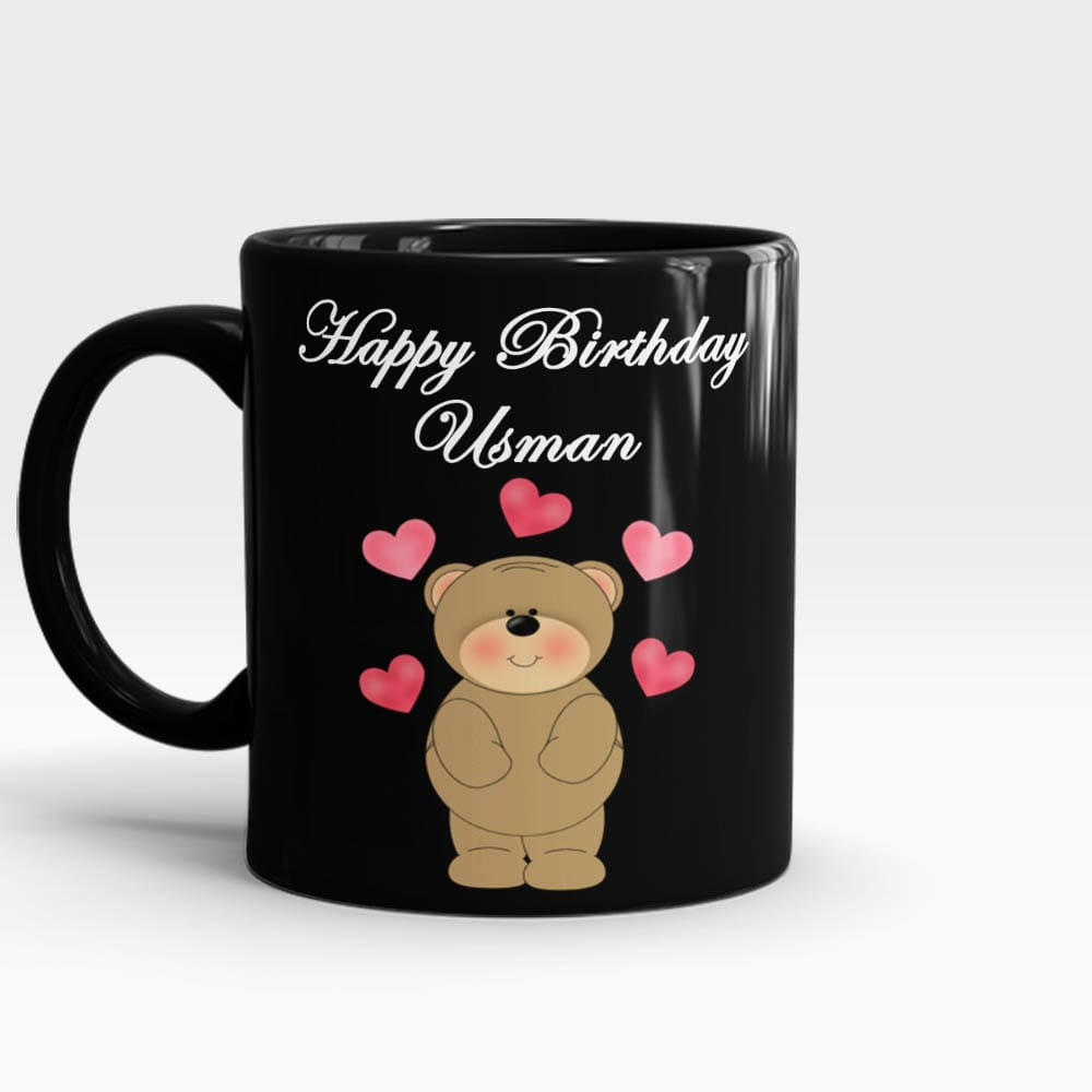 Happy Birthday Name Teddy Mug