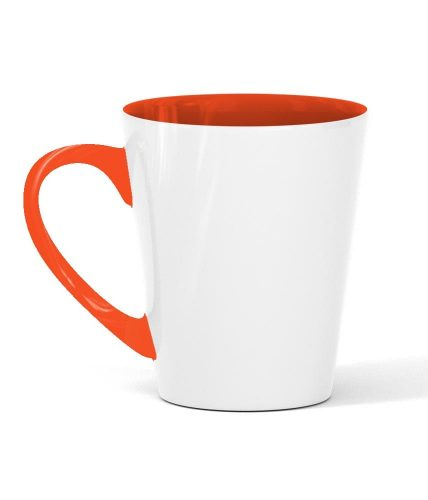 Orange Handle & Inner Conical Latte Mug - Customized