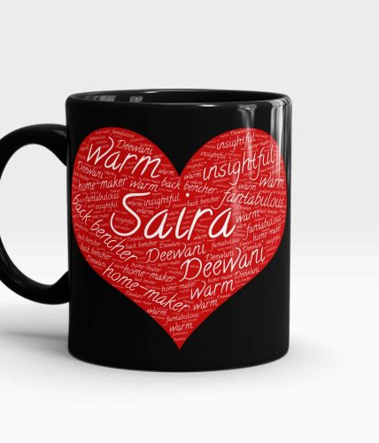 Name & Text Heart Artwork Mug - Customizable