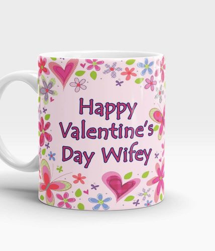 Valentine's Day Floral Name Mug