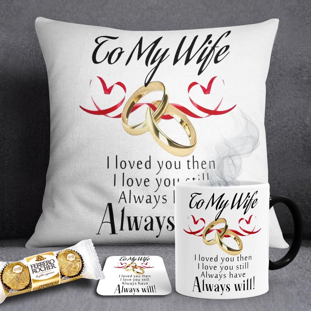 Wife Ring Anniversary Gift Deal Magic Mug Cushion Coaster Chocs