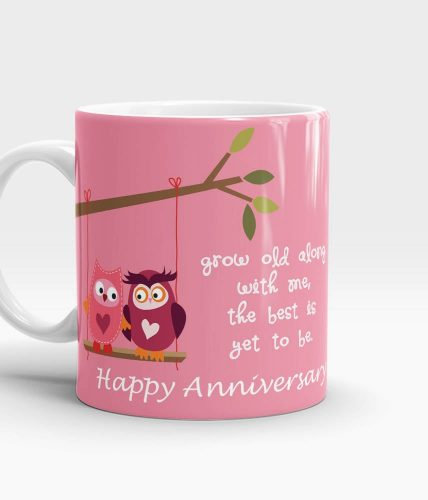 Grow Old With Me Anniversary Mug - Pink