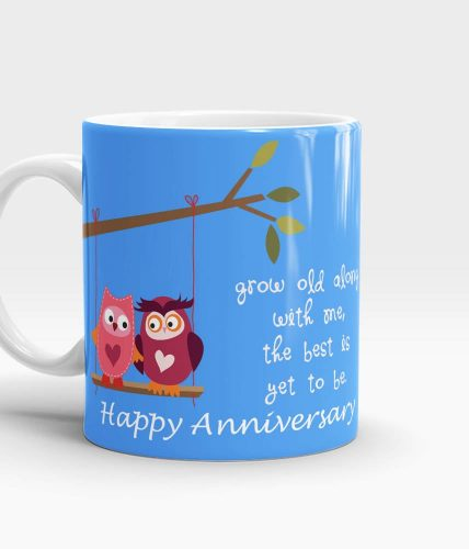 Grow Old With Me Anniversary Mug - Blue
