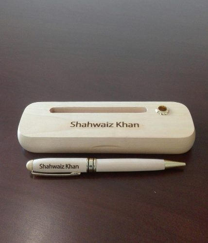 Wooden Name Engraved Pen With Cards Slot