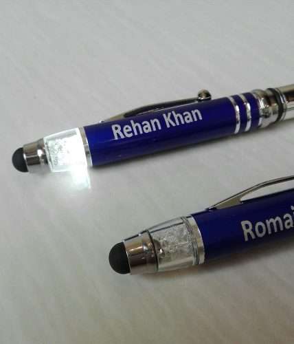 Metal Torch Pen With Crystal Light & Stylus