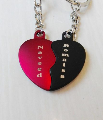 Dual Heart Keychains Name Engraved